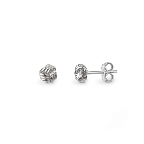 9ct white gold three strand knot stud earrings