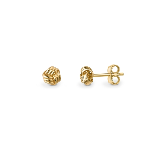9ct yellow gold three strand knot stud earrings, 1649,  [product_GENDER]