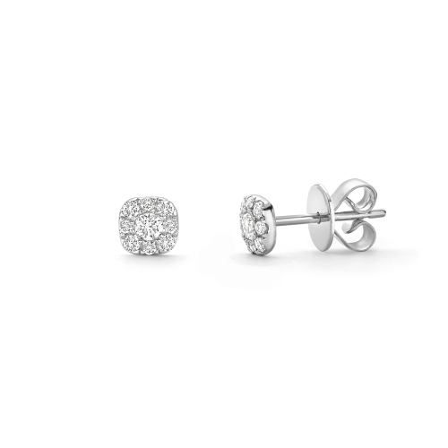 Brilliant cut diamond cluster earrings in 18ct white gold