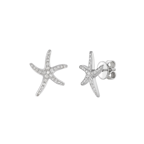 Diamond set starfish earrings in 18ct white gold, 2421,  [product_GENDER]