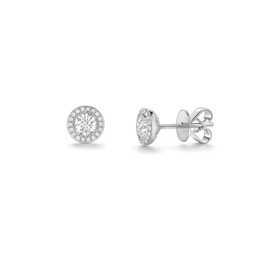 Brilliant cut diamond rubover set cluster earrings in 18ct white gold, 2562,  [product_GENDER]
