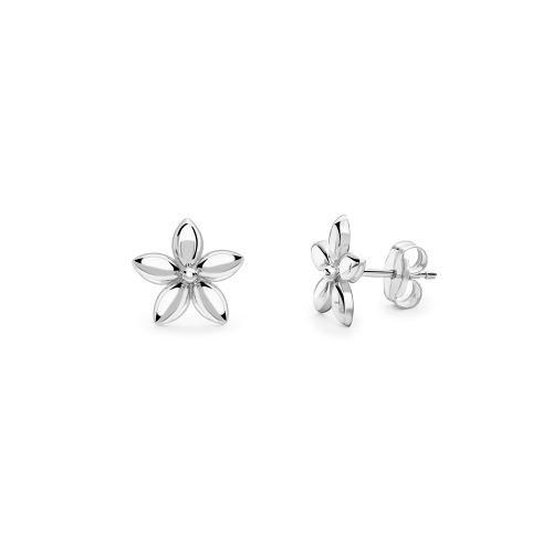 9ct white gold five petal daisy stud earrings, 2879,  [product_GENDER]