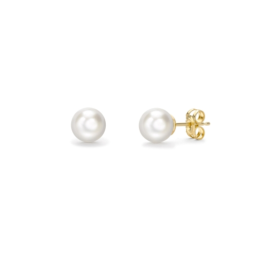 Freshwater cultured pearl stud earrings in 9ct yellow gold, 586,  [product_GENDER]