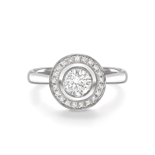 Brilliant cut diamond rubover set cluster ring in 18ct white gold