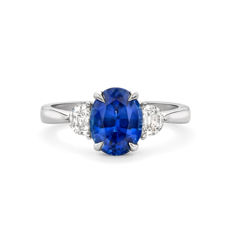 Sapphire & diamond claw set trilogy ring in 18ct white gold, 1827,  [product_GENDER]