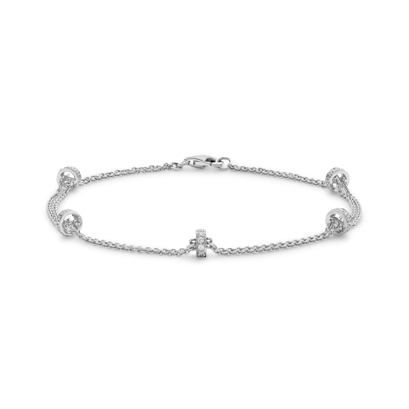 Brilliant cut diamond twin chain bracelet in 18ct white gold, 3023,  [product_GENDER]