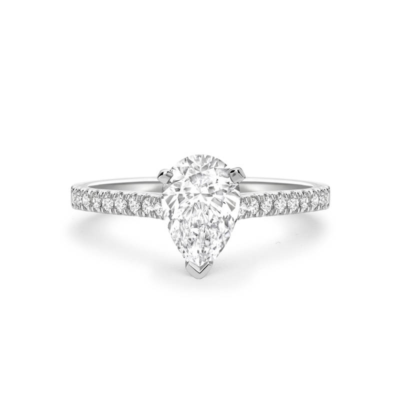 Pear cut diamond solitaire ring with diamond set shoulders in platinum, 3131,  [product_GENDER]