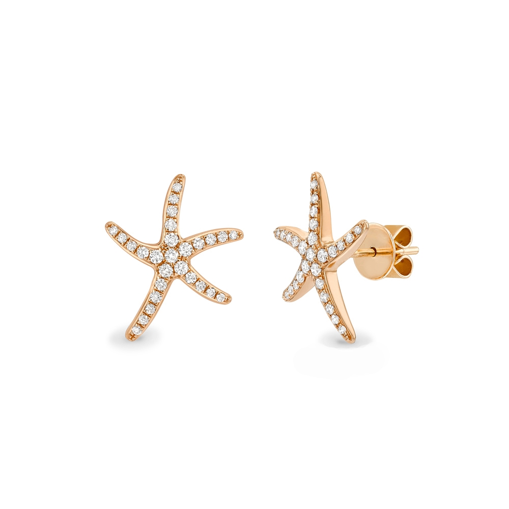 Diamond set starfish earrings in 18ct rose gold, 1268,  [product_GENDER]