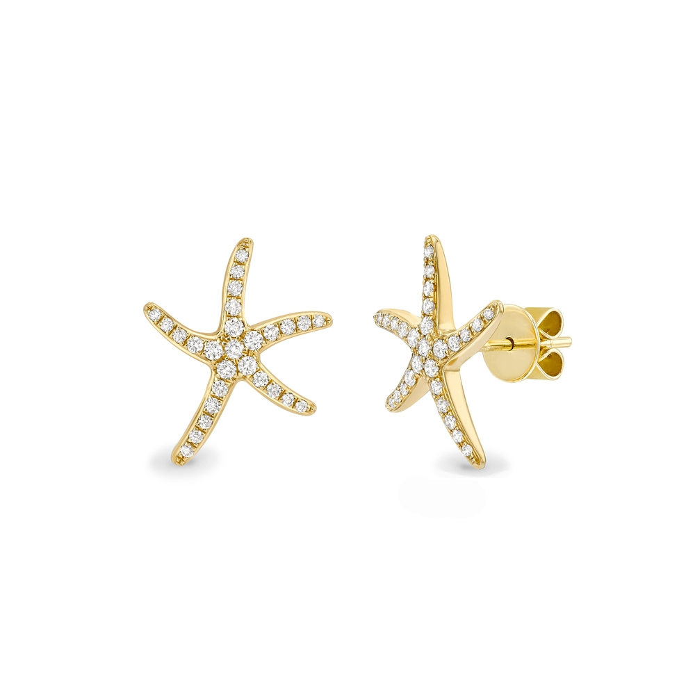 Diamond set starfish earrings in 18ct yellow gold, 1384,  [product_GENDER]