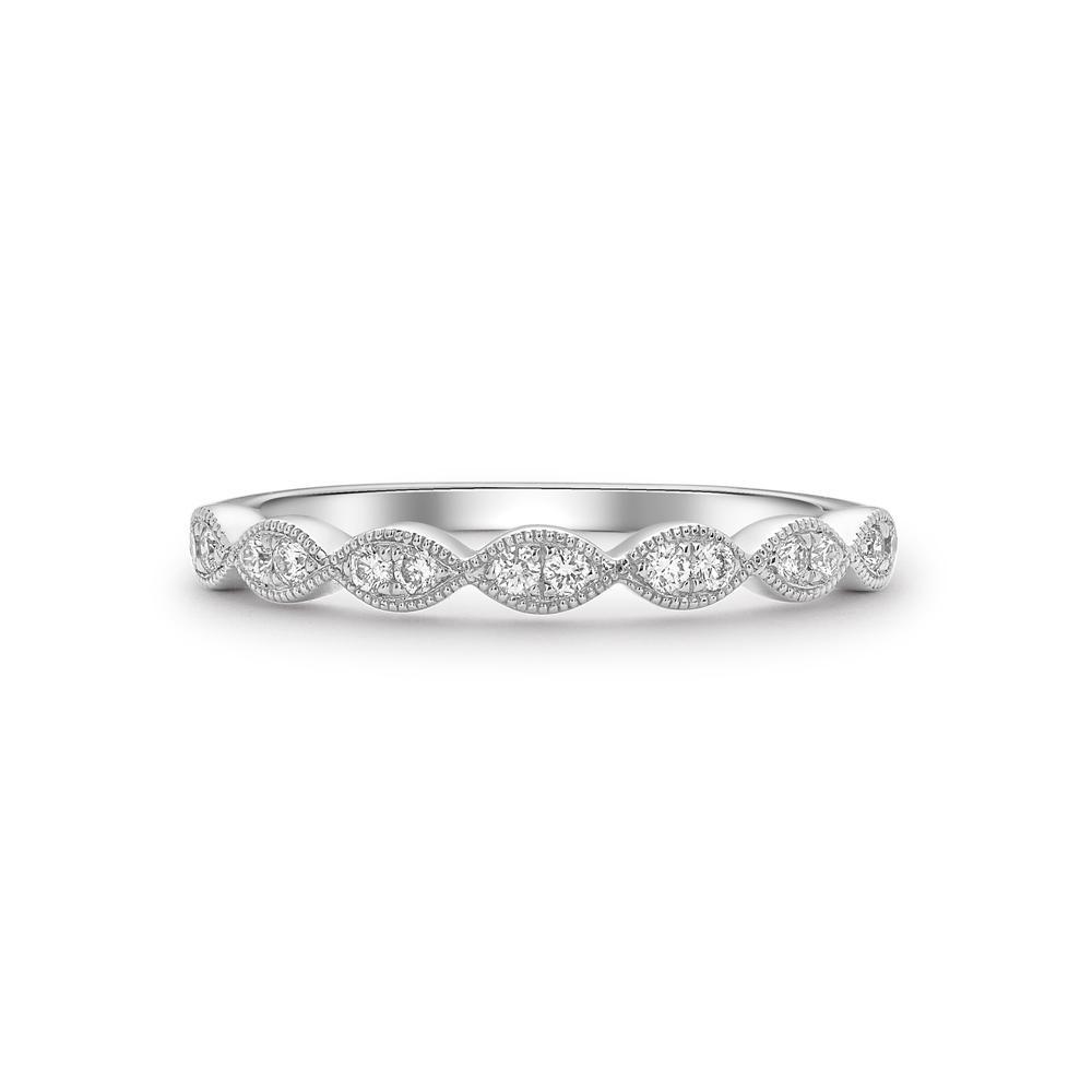 Brilliant cut diamond scalloped edge half eternity ring in 18ct white gold, 1477,  [product_GENDER]