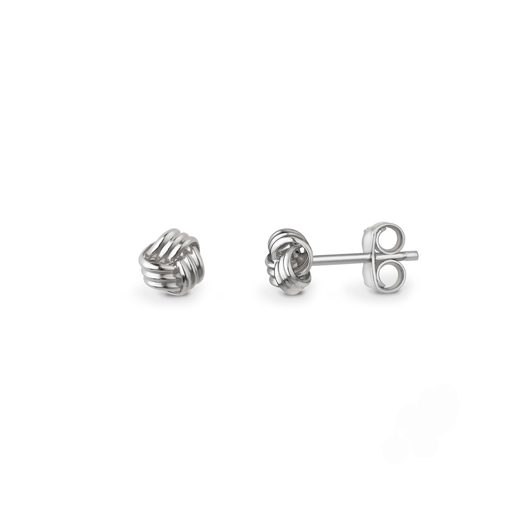 9ct white gold three strand knot stud earrings, 1592,  [product_GENDER]