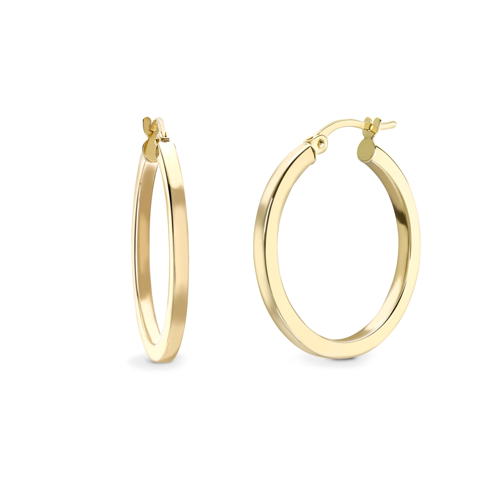 9ct yellow gold square profile hoop earrings, 1607,  [product_GENDER]