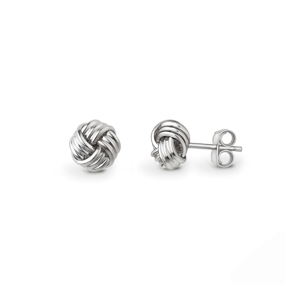 9ct white gold four strand knot stud earrings, 2258,  [product_GENDER]