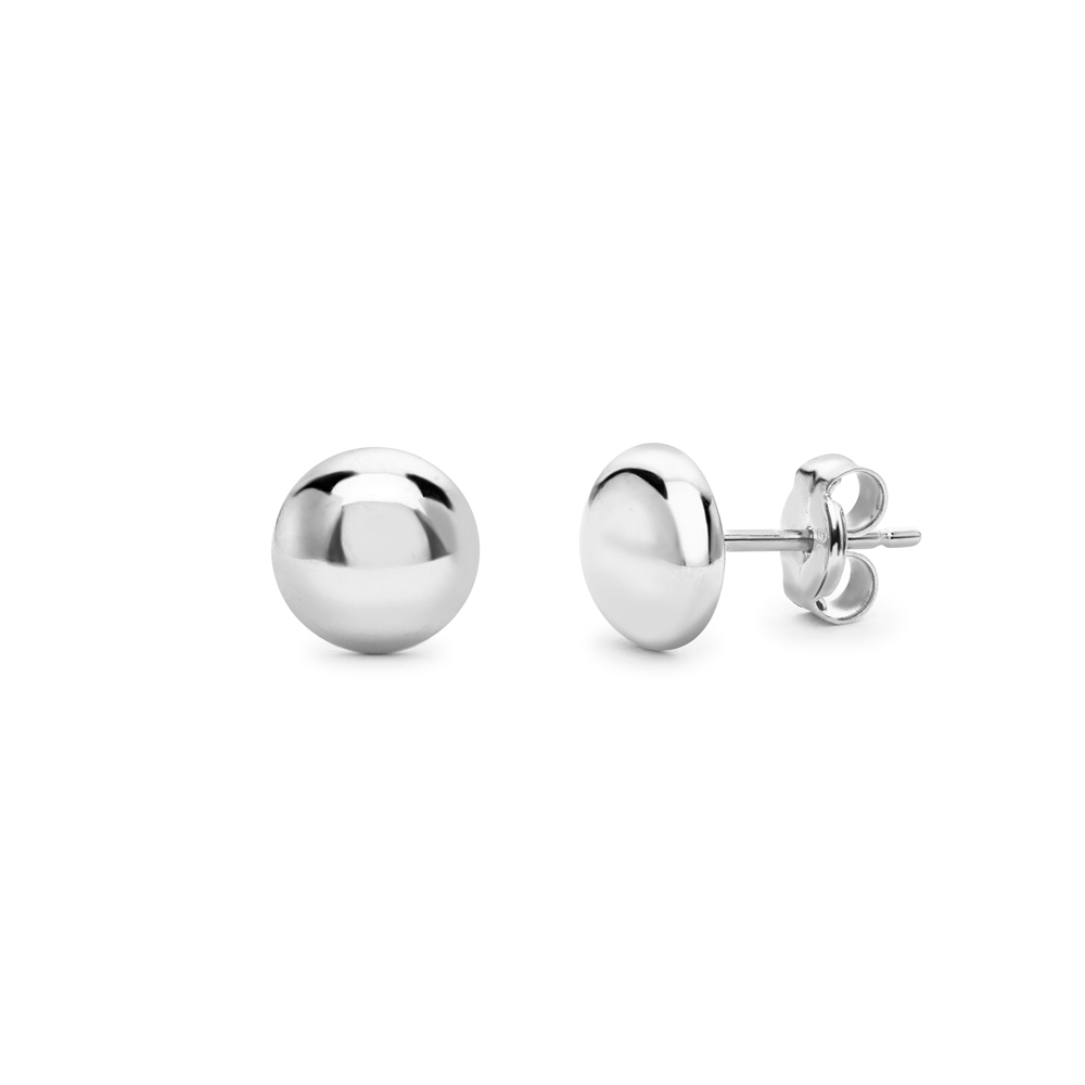 9ct white gold button shaped polished stud earrings, 2393,  [product_GENDER]