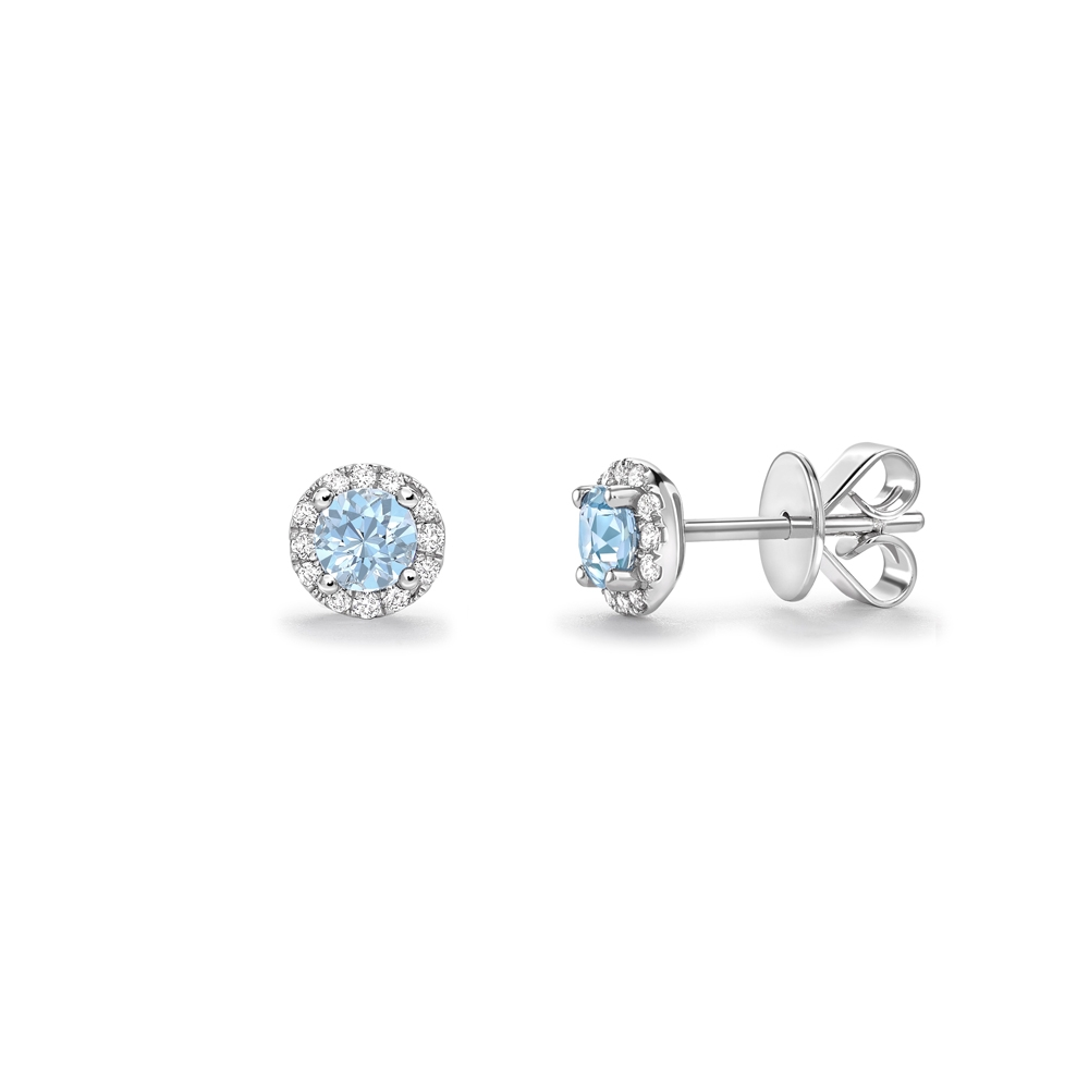 Aquamarine & diamond cluster stud earrings in 18ct white gold, 2559,  [product_GENDER]