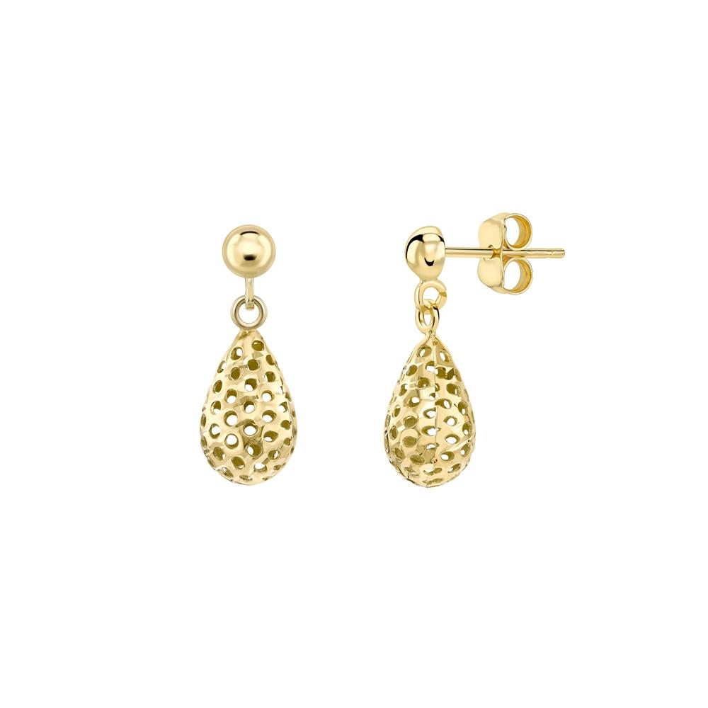 9ct yellow gold pierced teardrop earrings, 3044,  [product_GENDER]