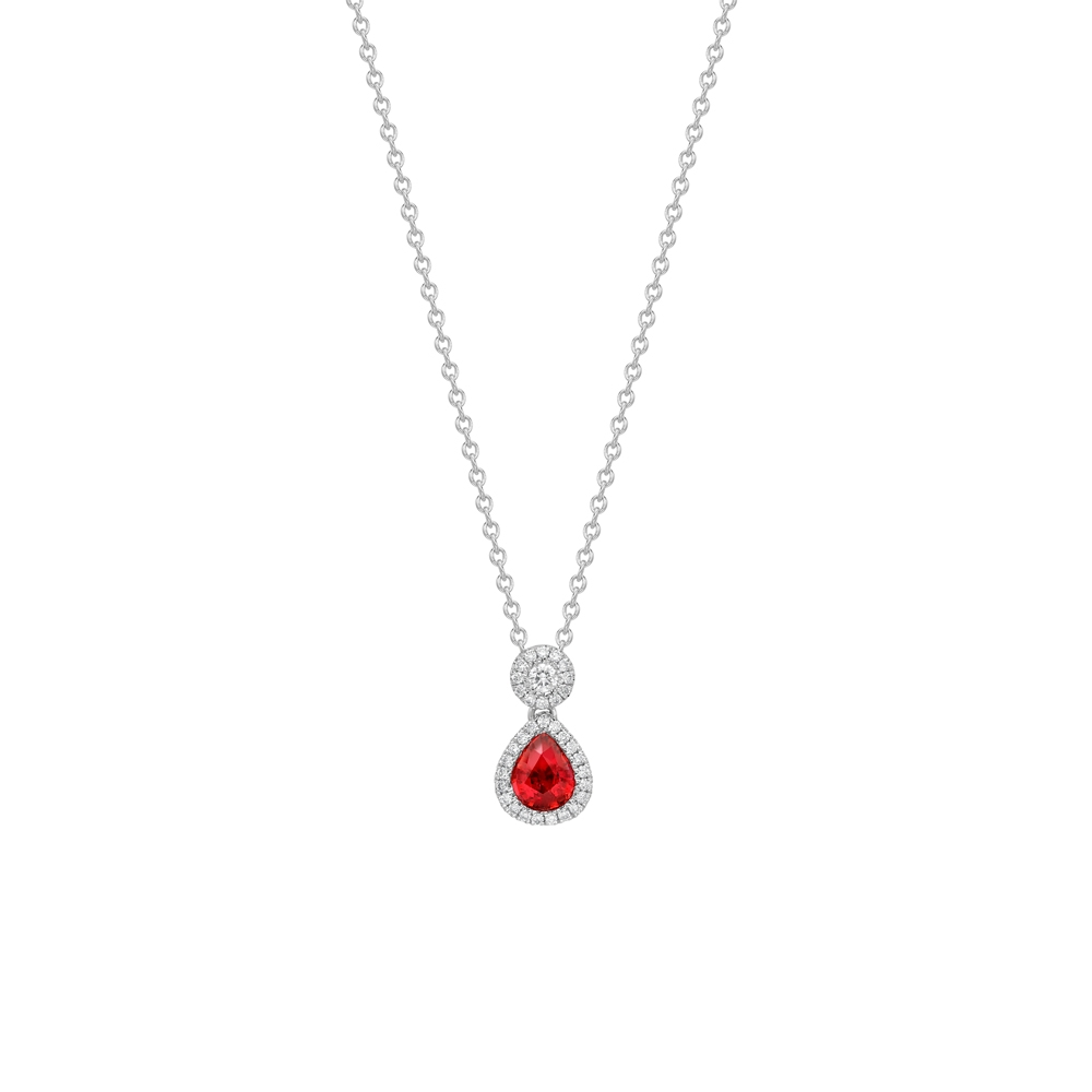 Ruby & diamond twin cluster pendant in 18ct white gold, 3024,  [product_GENDER]