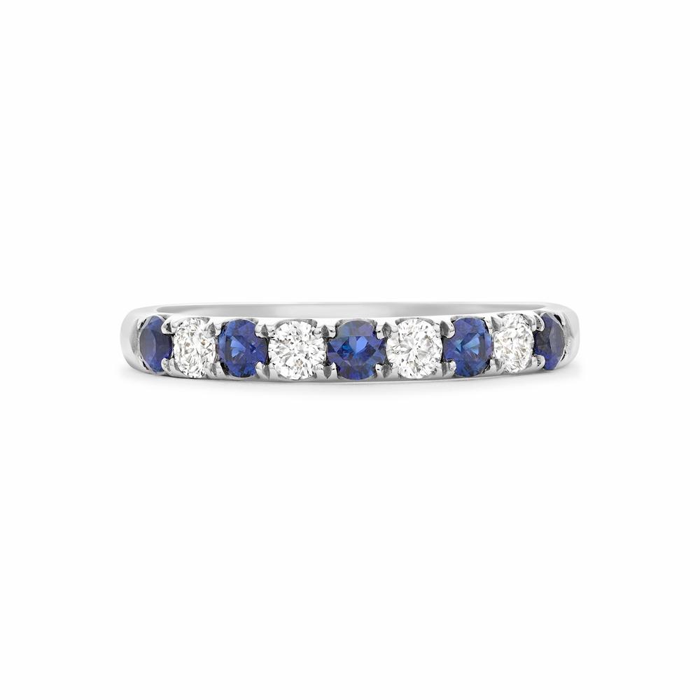 Sapphire & diamond claw set half eternity ring in platinum, 3586,  [product_GENDER]