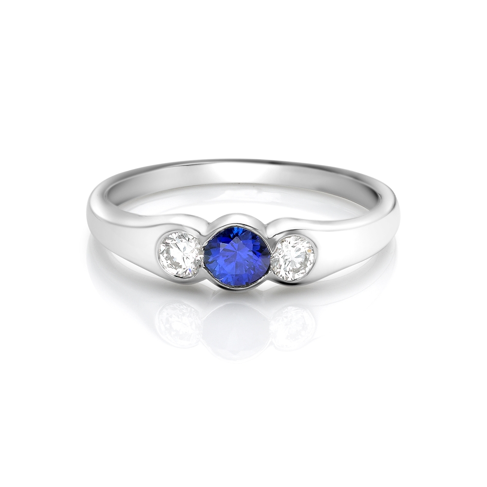 Sapphire & diamond rubover set trilogy ring in platinum, 3509,  [product_GENDER]