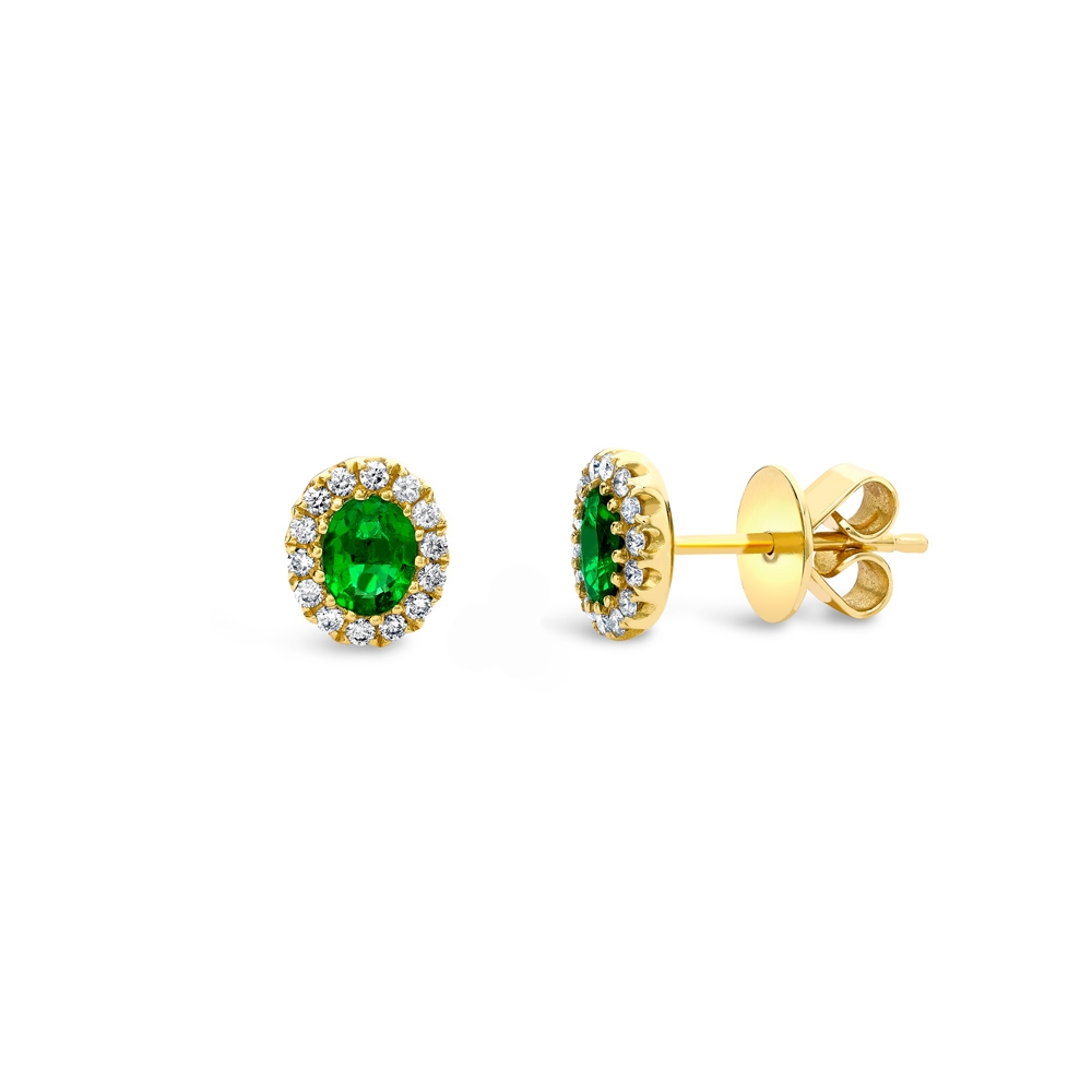Emerald & diamond cluster stud earrings in 18ct yellow gold, 397,  [product_GENDER]