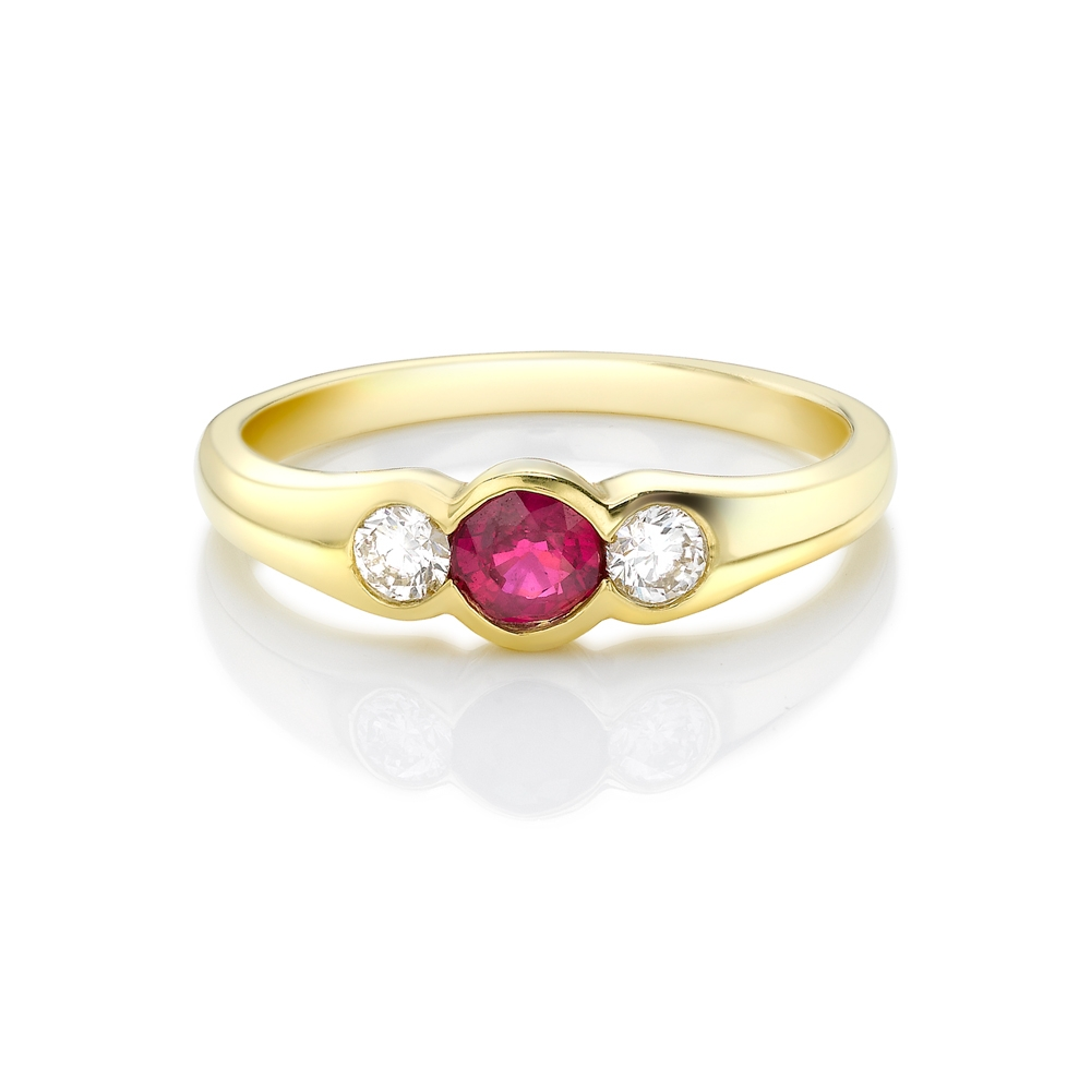 Ruby & diamond rubover set trilogy ring in 18ct yellow gold, 391,  [product_GENDER]