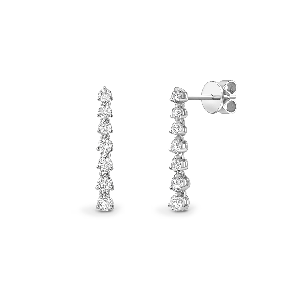 Brilliant cut diamond articulated drop earrings in 18ct white gold, 466,  [product_GENDER]