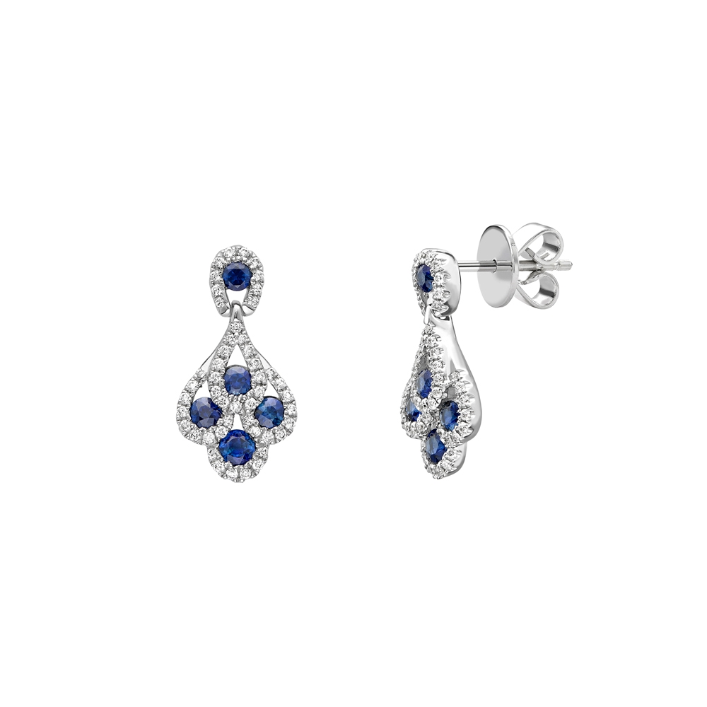 """Sapphire & diamond """"peacock feather"""" drop earrings in 18ct white gold, 926,  [product_GENDER]"""