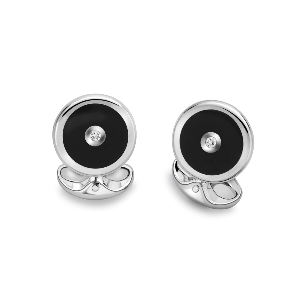 Deakin & Francis Sterling Silver Cufflinks with Onyx and Diamond, DF141,  [product_GENDER]